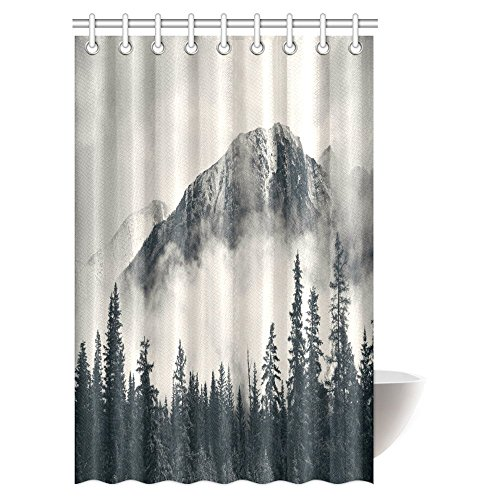 InterestPrint Farm House Decor Collection, National Park Foggy Mountains and Forest in Canada Fabric Bathroom Shower Curtain Set, 48 X 72 - Collection Canada
