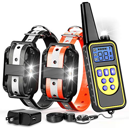 F-color Dog Training Collar, 2600ft Waterproof Dog Shock Collar with Remote, Reflective Strap with 4 Modes Beep Vibration Shock Light, Rechargeable Shock Collar for Small Medium Large 2 Dogs