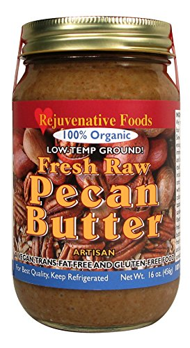Fresh-Pure-Raw Smooth Organic Pecan Butter Rejuvenative Foods Low-Temp-Ground Vegan Artisan-Ayurvedic In-Glass Vitamin-Protein-Antioxidant-Mineral-Nutrition USDA-Certified-Organic-16 oz