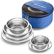 Wealers Stainless Steel Plates and Bowls Camping Set Small and Large Dinnerware for Kids, Adults, Family | Cam