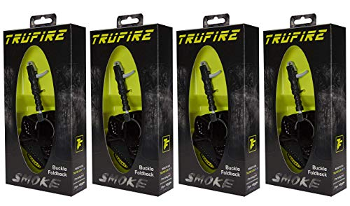 TruFire Smoke Adjustable Archery Compound Bow Release with Foldback Design - Black Wrist Strap