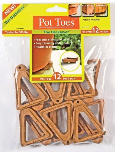 Plantstand PT-12TCHT 12-Pack Terra Cotta Pot toes, Gray - Pot Toes