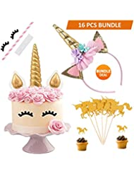 BONUS 16PCS Unicorn Cake Topper with Eyelashes and Unicorn Headband Unicorn Party Supplies for Birthday Party, Baby Shower and Wedding Party(Gold)