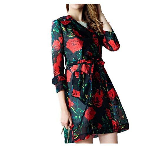 Gouuohi Cortaviento Para Largo Otoño Medio Estilo Mujer Y Primavera Temperamento De Floral Abrigo Negro Elegante Mujeres nawxrqUAn