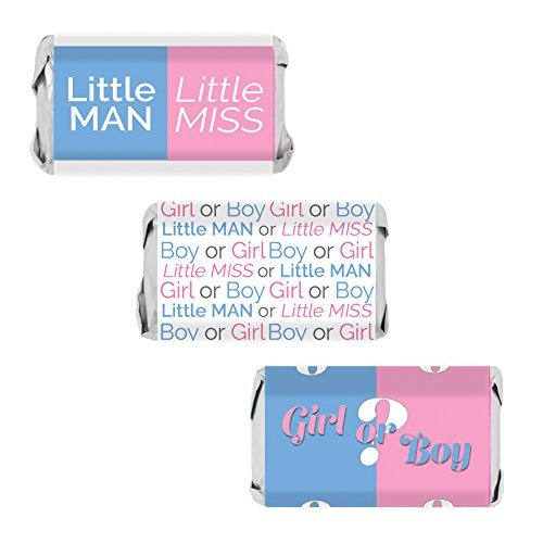 Baby Gender Reveal Party Miniatures Candy Bar Wrapper Stickers, 54 Count]()
