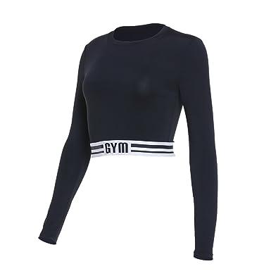 Vansydical Women Long Sleeve Yoga Shirts Sexy Exposed Navel Gym