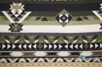 Indian Ikat Blue Anti-Pill Polar Fleece Fabric Polyester 13 Oz 58-60