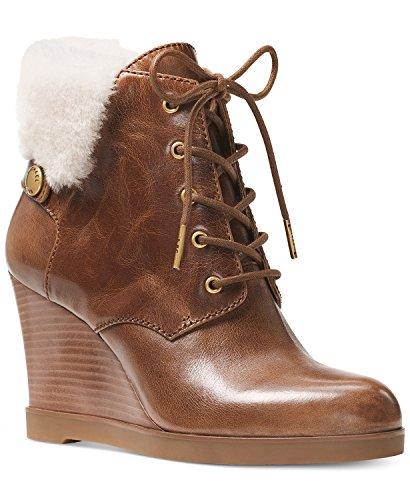 MICHAEL Michael Kors Women's Carrigan Wedge Leather Dark Caramel Boots Brown (8.5) - Michael Kors Wedge Boots