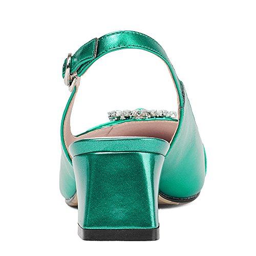Nine Seven Cuero Puntiagudos Sandalias de Tacón Grueso con Diamantes de Imitacion para Mujer Verde