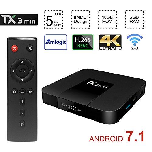 Greatlizard Tanix Mini TV Box Android 7.1, 2G RAM 16G ROM 4K Ultra HD WiFi Smart Tv Box
