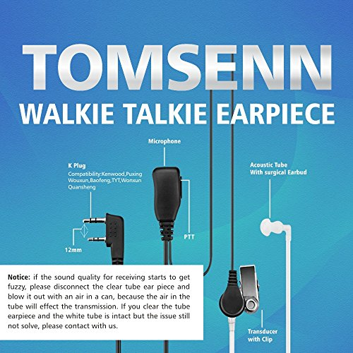 TOMSENN 2 Pin Covert Acoustic Tube Walkie Talkie Earpiece – Two Way Radio Earpiece with a PTT Mic Compatible with Walkie Talkie Headset Brands (Kenwood, Puxing, Wouxun, Baofeng) – Pack of 2