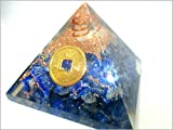 Jet Lapis Lazuli Feng Shui Coin Orgone Pyramid Lucky Ions Generator 2.5 inch Natural Charged EMF Harmonizer Energy Chakra Blancing Meditation Healing Gemstone Jet Crystal Therapy Booklet Hand Carved