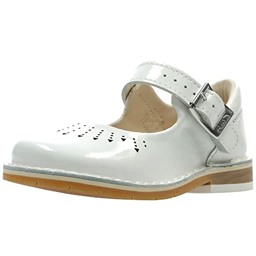 ebb5b0d228a Clarks Yarn Jump Girls First Mary Jane Shoes 4 UK White Patent ...