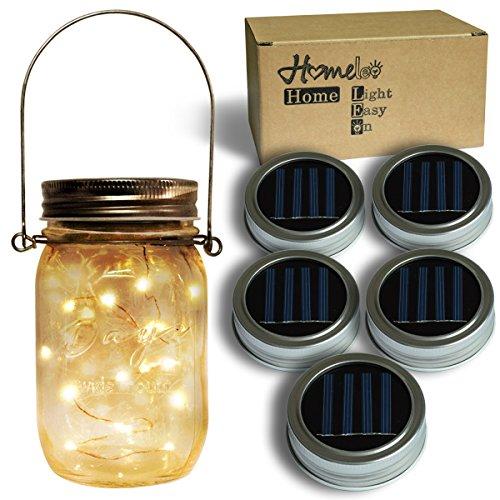 Homeleo 5-Pack Warm White Solar Mason Jar Lid Insert, Solar Powered LED Mason Jars Light Up Lid