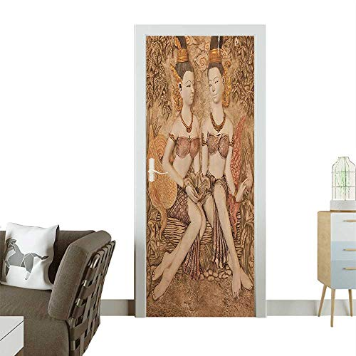 Homesonne Door Decals Native Thai Style Molding Asian Traditial Attire Temple Culture Pressure resistantW38.5 x H79 INCH