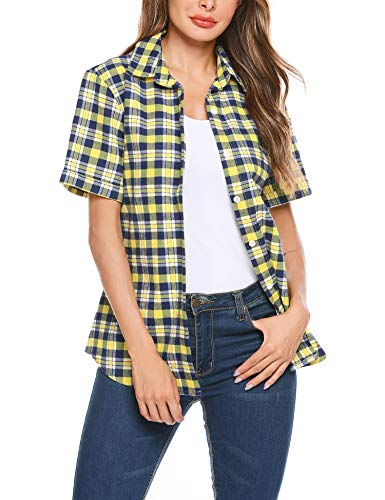 SUNAELIA Womens Short Sleeve Button Down Plaid Flannel Shirt Cotton Casual Blouse Check Gingham Top S-XXL ()