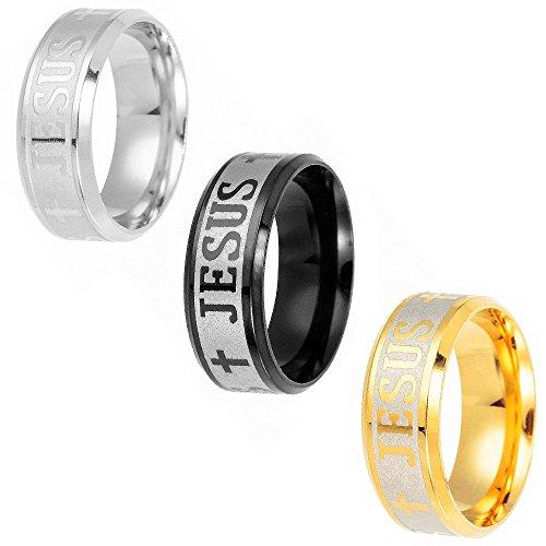 Yeegor 3pcs/Set Stainless Steel Mens Womens Religious Jewelry Jesus Cross Engraved Around Rings(9#)