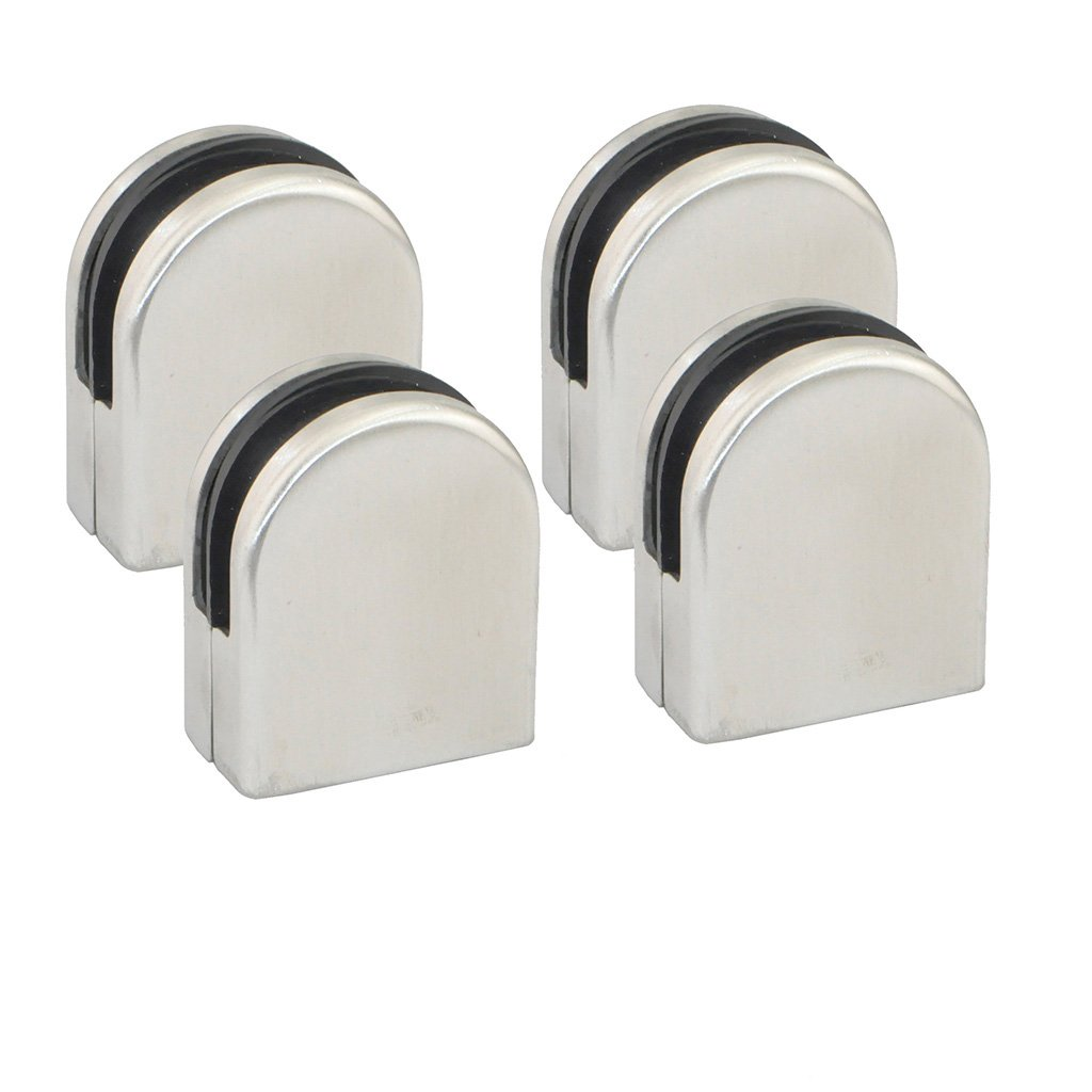 iKKEGOL Pack of 4 Stainless Steel Round 304 Glass Clip Clamp Bracket Holder Flat Surface for Window Balustrade 6-8mm by iKKEGOL