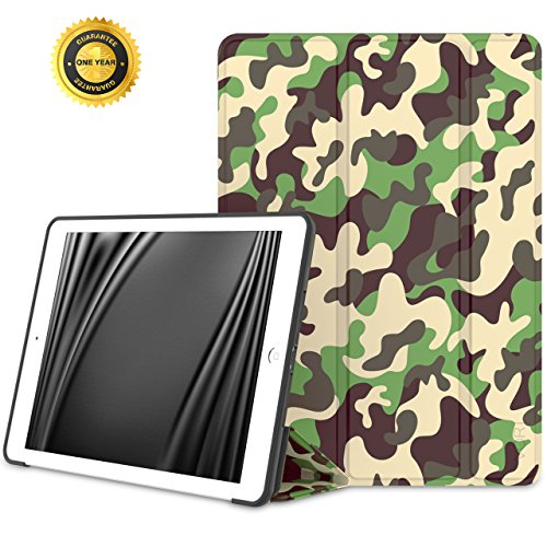 VORI iPad 9.7 Inch 2018 2017 Case - Lightweight Slim Soft Flexible TPU Back Smart Standing Case Cover [Auto Wake/Sleep] for Apple iPad 9.7 In 2017 Release Tablet, Camouflage Camouflage Cover