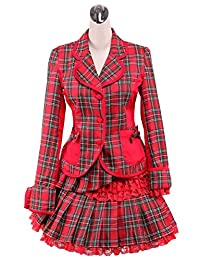 antaina Red Plaid Cotton Bows Victorian Lolita Blouse and Pleated Lace Skirt