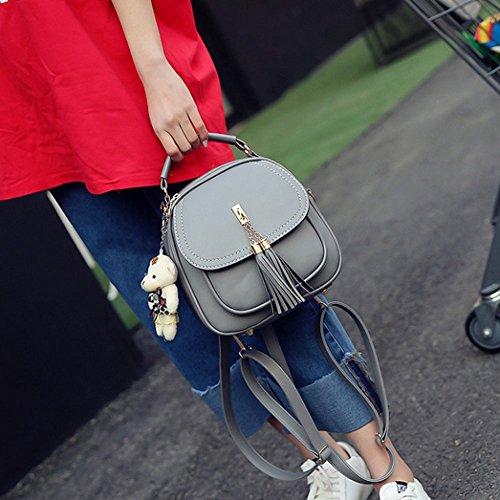 Casual Zipper For Gray Elegant Tassel Backpacks Girls Kyokim 2018 Ladies Pu Bag Women EwqISz