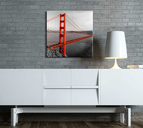 Black and White Photograph with Pop of Color on The Golden Gate Bridge