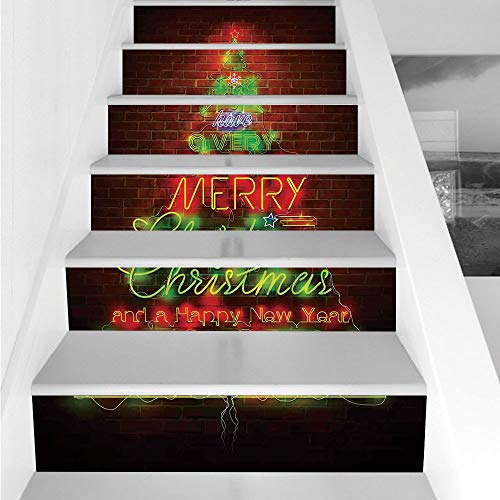 Stair Stickers Wall Stickers,6 PCS Self-adhesive,Christmas,Neon Lights Sign Have a Merry Xmas and Happy New Year Phrase against the Wall,Burgundy Green,Stair Riser Decal for Living Room, Hall, Kids Ro ()