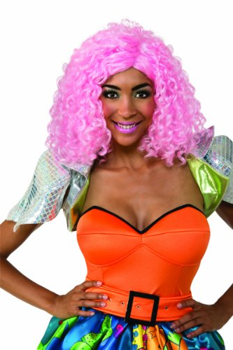 Nicki Minaj Curly Costume Wig, Pink, One