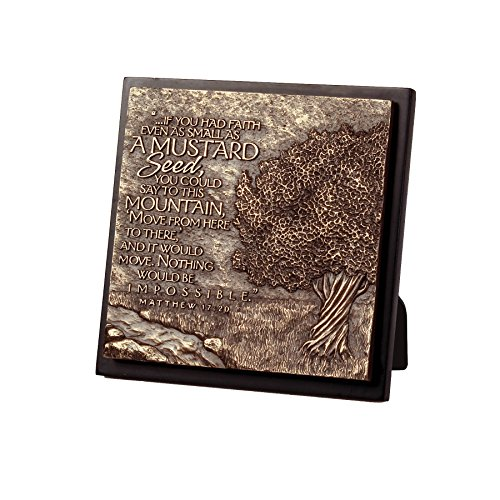 Lighthouse Christian Products Moments of Faith Small Square Mustard Tree Sculpture Plaque, 5 3/4 x 5 3/4