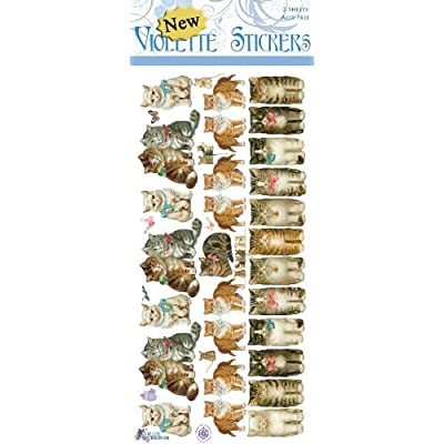 Violette Stickers Rows of Cats: Office Products