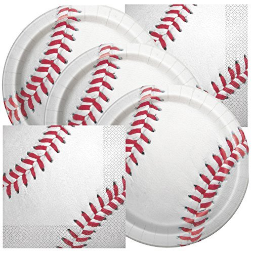 JJ Collections Baseball Themed Birthday Party Napkins and Plates -