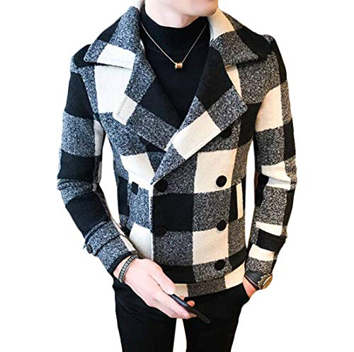 (Domple Mens Wool Blend Short Coat Plaid Double-Breasted Pea Trench Jacket Black US L)