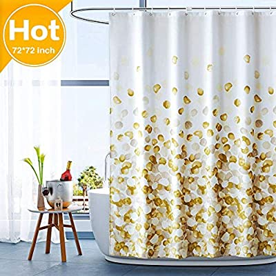 ARICHOMY Shower Curtain for Bathroom Fall Fabric Curtains Set Waterproof Colorful Flower Golden Gold Color with Standard Size 72 by 72 - The shower curtain is golden color, Large digital printed design is with vibrant colors, clear image, no fading. It is gorgeous and brightens up your bathroom tremendously. The curtain is is made of high quality durable microfiber fabric, 100% polyester waterproof, Non vinyl, Non PEVA, Environmentally friendly, dries quickly. The shower curtain for bathroom size of 72 x 72 inch will fit standard size shower / tub areas, No liner needed. - shower-curtains, bathroom-linens, bathroom - 512wIWWuWWL. SS400  -