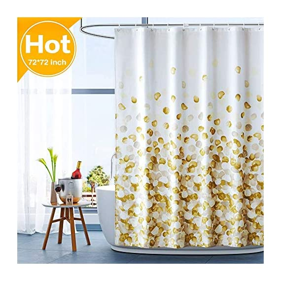 ARICHOMY Shower Curtain for Bathroom Fall Fabric Curtains Set Waterproof Colorful Flower Golden Gold Color with Standard… - The shower curtain is golden color, Large digital printed design is with vibrant colors, clear image, no fading. It is gorgeous and brightens up your bathroom tremendously. The curtain is is made of high quality durable microfiber fabric, 100% polyester waterproof, Non vinyl, Non PEVA, Environmentally friendly, dries quickly. The shower curtain for bathroom size of 72 x 72 inch will fit standard size shower / tub areas, No liner needed. - shower-curtains, bathroom-linens, bathroom - 512wIWWuWWL. SS570  -