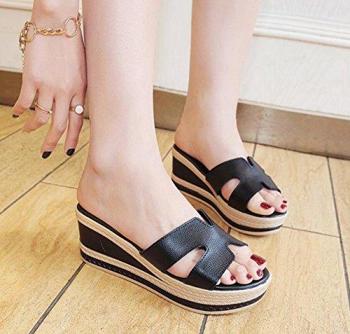 Mode flops Flip Casual Pantoufles Black Chaussures Talons Extérieure Femmes Forme Plate Wedges D'été Cool fXavPq8