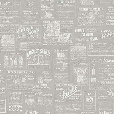 Chesapeake 3115-64274 Adamstown Grey Newspaper Wallpaper