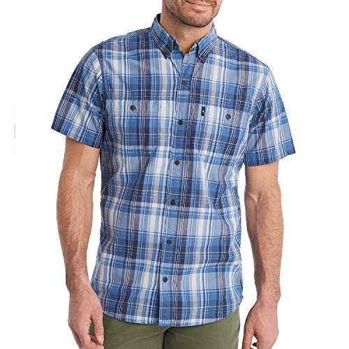 Men's G.H. Bass Sportsman Wicking Sun-Blocker Short Sleeve Button Down Shirt (Indigo Sky Blue Plaid, ()