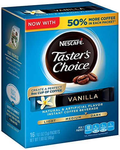 Nescafe Taster's Choice Vanilla 16 Piece Instant Coffee Beverage Single Serve Sticks, 1.69 oz