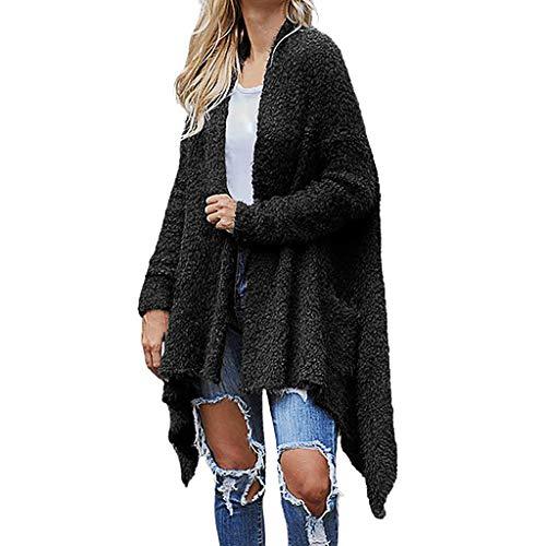 Bravetoshop Womens Maxi Cardigan Coat Chunky Long Sleeve Open Front Knit Sweater Irregular Hem Warm Outwear Overcoat Black (Best Dye For 100 Polyester)