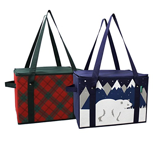 Earthwise Insulated Reusable Grocery Bag - Shopping Box Cooler Tote Winter and Plaid Design REINFORCED BOTTOM PANEL and ZIPPER TOP LID and EXTRA SIDE HANDLES FOR EASY LIFTING ( Set of 2 )