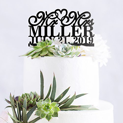 Personalized Custom Mr & Mrs Wedding Cake Topper with Your Last Name and -