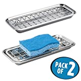 mDesign Sink Tray for Sponges, Dish Scrubbers, Soap - Pack of 2, Polished Stainless Steel