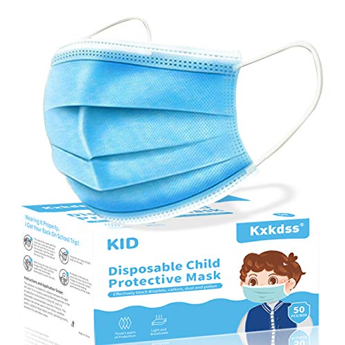 Kids & Adults Disposable Face Mask, 50pcs 3 Layers Disposable for Children & Adults Protection Safety Masks