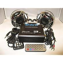 Shark Shkamp5800btmx3080 600 Watt Bluetooth Motorcycle Marine Audio System w/ 3.5 Speakers + Wired / Wireless Remote+antenna Mixed Speakers Black