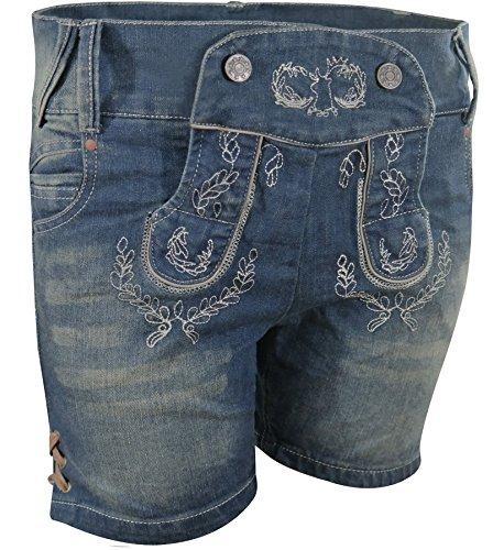 PAULGOS Damen Trachten Jeans in Optik Trachten Lederhose Kurz Blau, Damen Größe:42