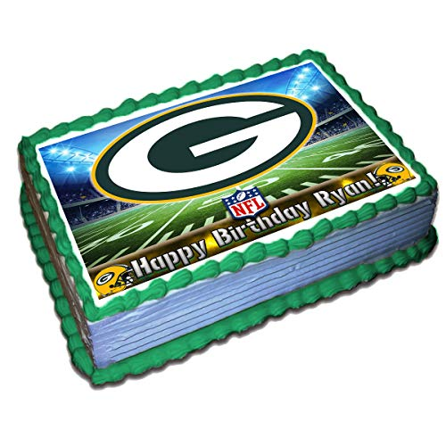 Green Bay Packers NFL Personalized Cake Topper Icing Sugar Paper 8.5 x 11.5 Inches Sheet Edible Frosting Photo Birthday Cake Topper (Best Quality Printing)]()