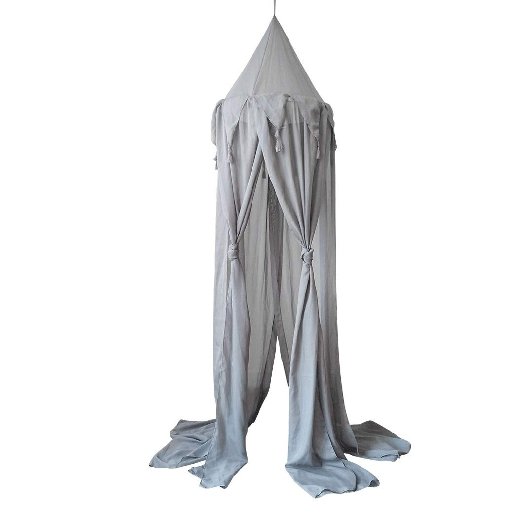 3 Colors Hanging Mosquito Protection Kids Baby Bedding Dome Bed Canopy Cotton Mosquito Net Bedcover Curtain Reading Playing Home Decor (Color : Gray, Size : 19.6894.48inchs)