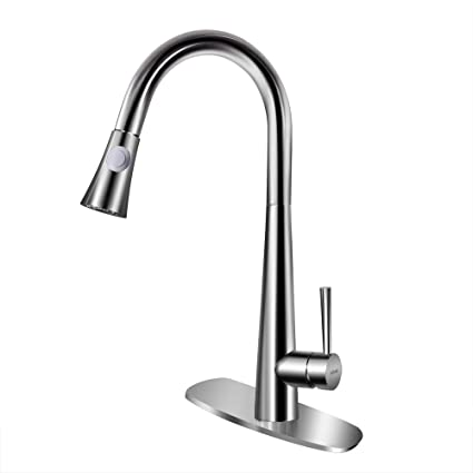 Ashop Brushed Nickel Kitchen Faucets With Pull Down Sprayer Single