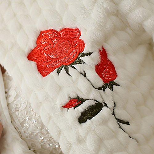 Icegrey Veste Femme Broderie Faite à La Main Demoiselle D'honneur Pour Mariee Mariage Boléro Manche 3/4 Pour Robe de Soirée Veste Hiver Mariage Châle Blanc