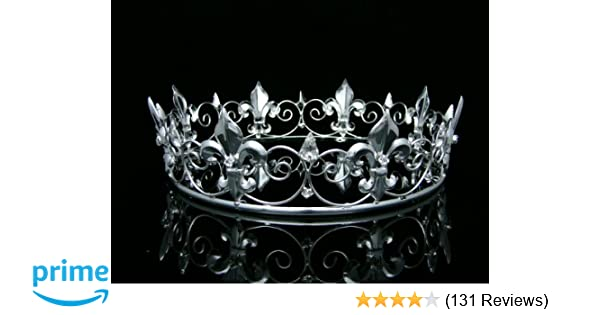 Amazon.com   Men s Full King s Crown for Theather Prom Party - Clear  Crystals Silver Plating T373   Beauty 67ee37197fe7